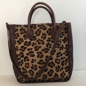 Madewell Leather Leopard Tote